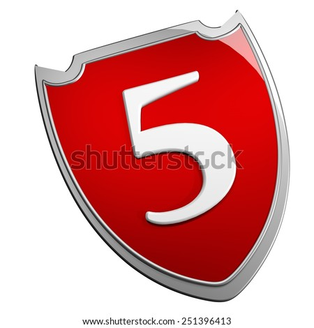 Shield 5, isolated over white, 3d render - stock photo