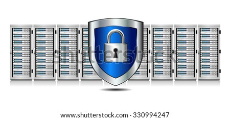 Shield Lock Servers and Shield Protection - Network Security - Information technology conceptual image - Raster Version - stock photo