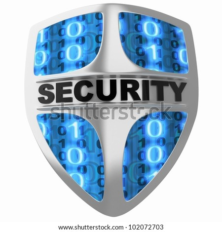 Shield security (done in 3d, isolated) - stock photo