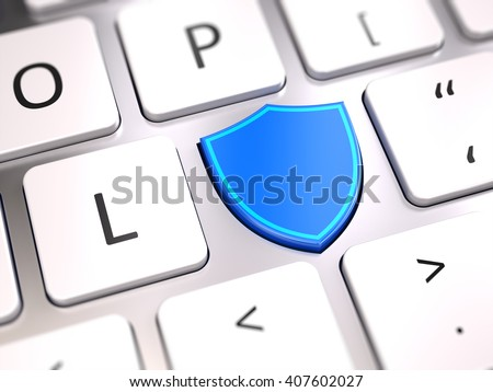 Shield shaped button on computer keyboard - Security and antivirus firewall protection concept. 3d rendering - stock photo