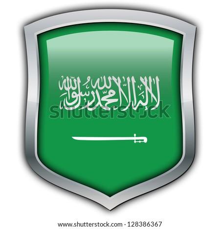 Shield with flag inside - Saudi Arabia - stock photo