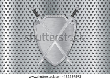 Shield with swords on metal perforated background. Illustration. Raster version - stock photo