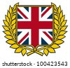 shield with united kingdom flag (emblem, sign, design) - stock photo