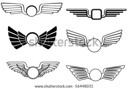 Shield with wings - also as emblem or logo template. Vector version also available - stock photo
