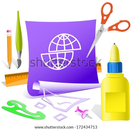 Shift globe. Paper template. Raster illustration. - stock photo