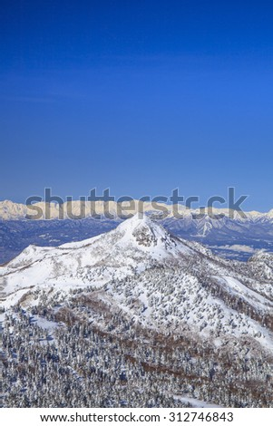 Shiga Kogen resort in winter, Nagano, Japan - stock photo