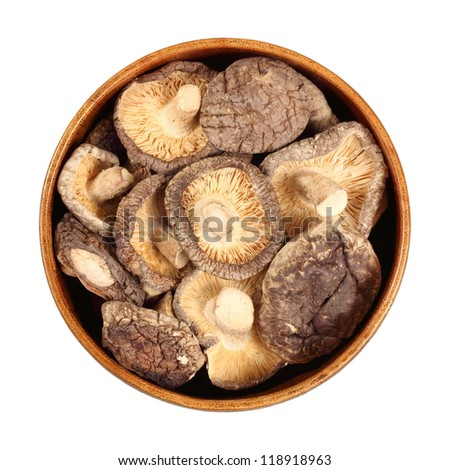 shiitake mushrooms, a delicacy, used in medicine as a preventive, restorative, stimulant from disease, in a cup, isolated, white background - stock photo