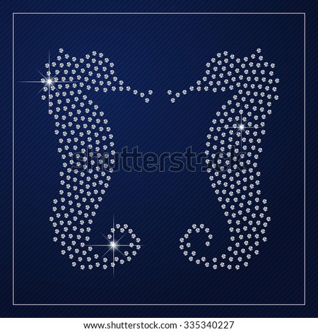 Shimmering diamond luxury seahorses. Glamour design element. Branding identity, logo design concept. Isolated high quality graphic. Clean, modern and elegant style design. Raster version. - stock photo