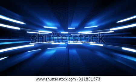 shining blue glow. computer generated abstract technology background - stock photo