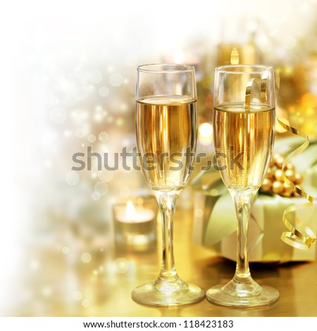 shining champagne classes with fade to white copy space - stock photo
