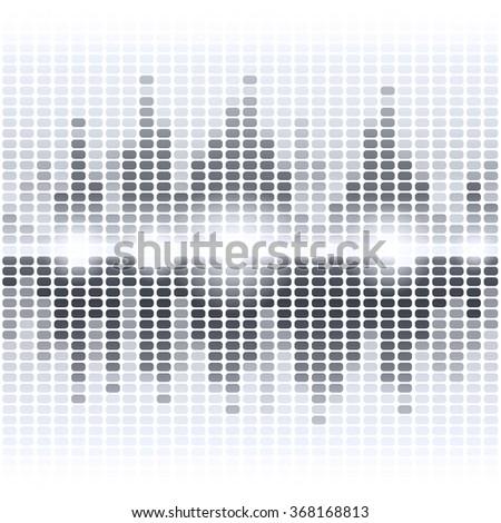 Shining grey digital equalizer on white background - stock photo