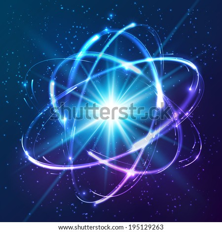 Shining neon lights cosmic atom model - stock photo
