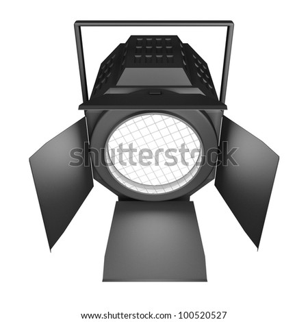 Shining searchlight. Isolated on a white background. - stock photo
