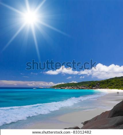 Shining Skies Sea Shore - stock photo