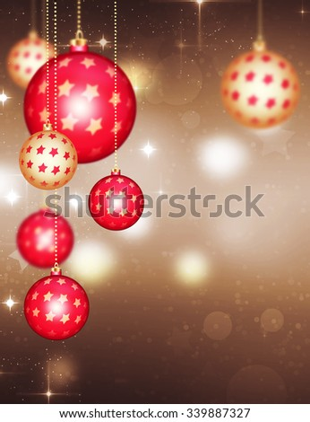 Shining sparkling Christmas baubles, with stardust. Happy New Year Abstract Background. Holiday abstract glowing blurred bokeh background. Merry Christmas Wallpaper. Sparkling balls Holiday Backdrop. - stock photo