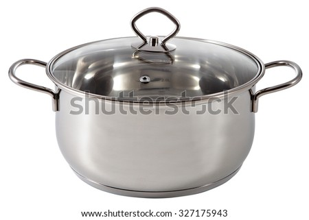 Shining stainless steel soup pan, coated with a lid glass,  isolated on white background. - stock photo