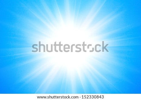 Shining sun at clear blue sky background.  - stock photo