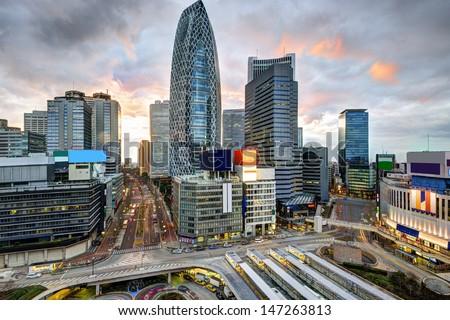 Shinjuku Ward skyline in Tokyo, Japan. - stock photo