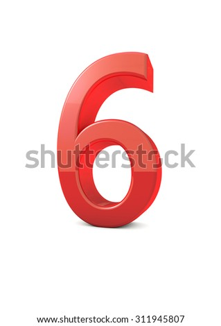 shiny beautiful realistic number 6 with white background  - stock photo