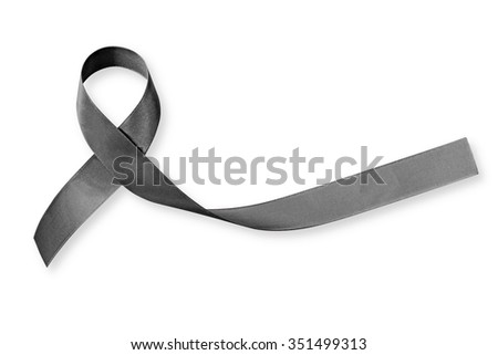 Shiny black satin fabric bow texture textile isolated on white background: Ribbon color symbol raising awareness on Melanoma skin cancer: Pray for remembrance world peace campaign concept RIP Brussels - stock photo