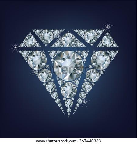 Shiny bright diamond symbol made a lot of diamonds - stock photo
