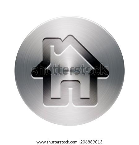 Shiny Brushed Metal Home Icon isolated on white background - stock photo