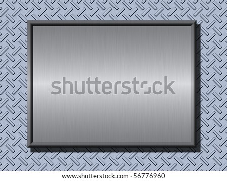 Shiny brushed metal plates over rough metal background - stock photo