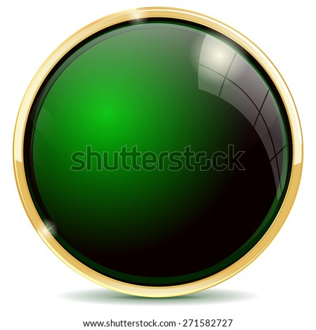 Shiny button green . Isolated on white background. Raster version - stock photo