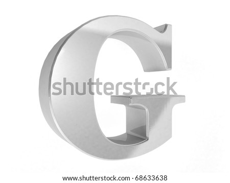 shiny chrome letter G on a white isolated background - 3d rendering - stock photo
