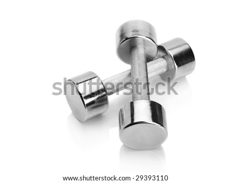 Shiny chrome plated fitness dumbbells isolated on white background - stock photo