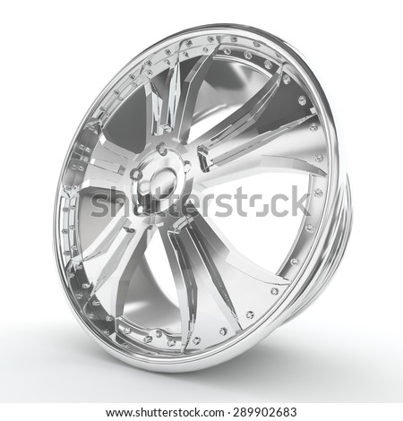 Shiny chrome rim, luxury spare part, look expensive. - stock photo