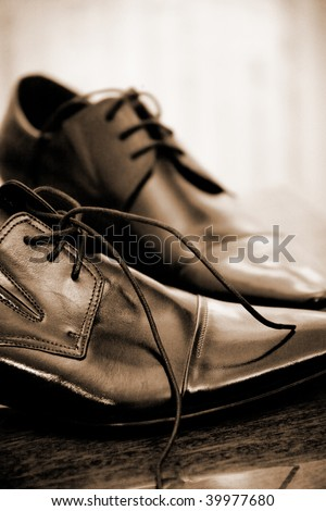 Shiny classic leather men's shoes - stock photo