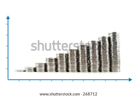 shiny coins showing increasing profits (arranged in a chart) - stock photo