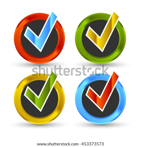 shiny colored check mark with black background and shadow - stock photo