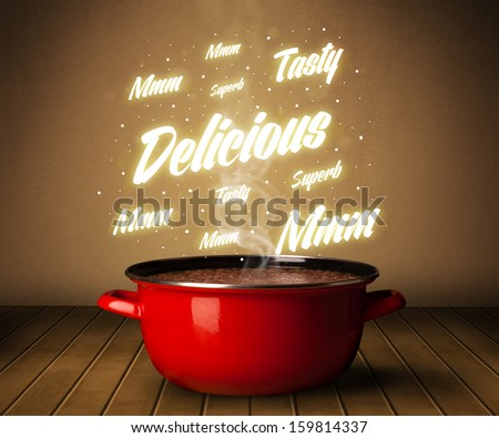 Shiny comments above cooking pot - stock photo