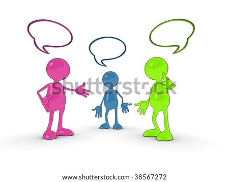 Shiny 3d cartoon chat characters with speech bubbles. - stock photo