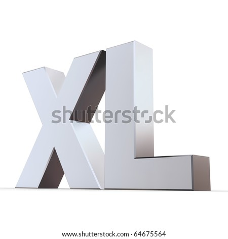 shiny 3d letters XL made of silver/chrome - stock photo