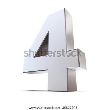 shiny 3d number 4 made of silver/chrome - stock photo