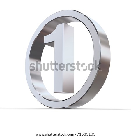 shiny 3d number 1 made of silver/chrome in a metallic circle - stock photo