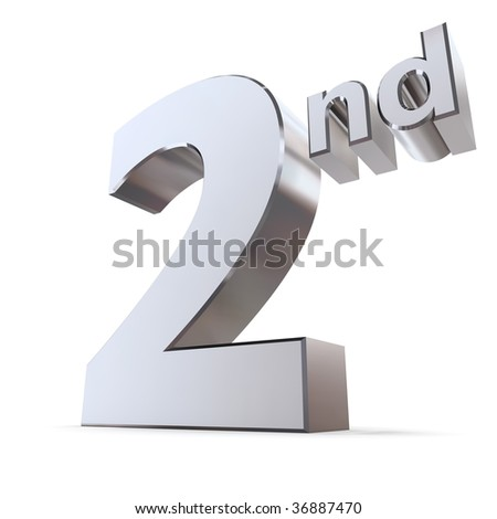 shiny 3d number 2nd made of silver/chrome and silver letters nd - stock photo