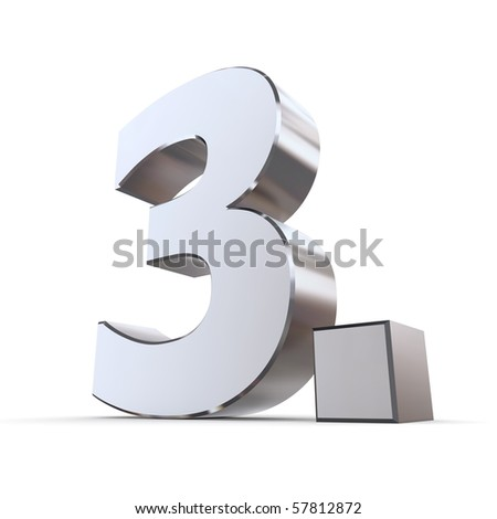 shiny 3d number 3rd made of silver/chrome - 3. with angular dot - stock photo