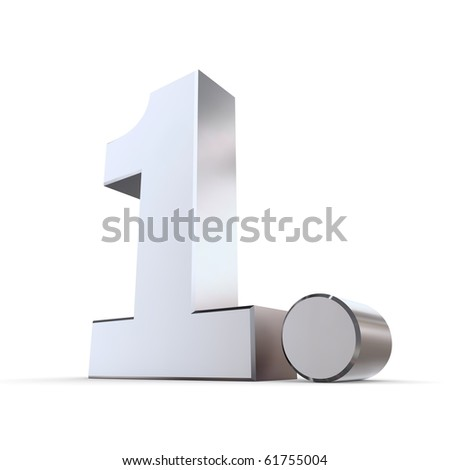shiny 3d number 1st made of silver/chrome - 1. with round dot - stock photo