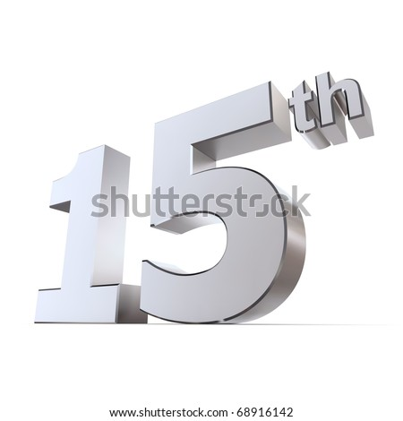 shiny 3d number 15th made of silver/chrome - chrystal or watches wedding anniversary - stock photo
