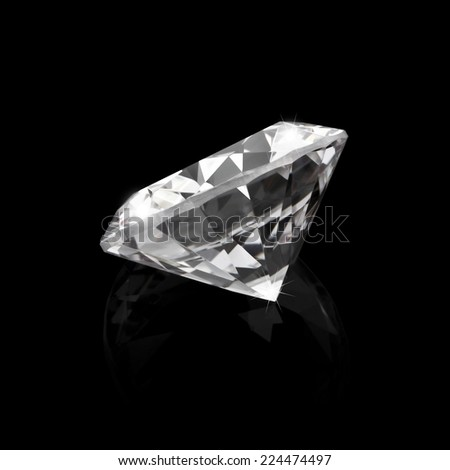 Shiny diamond on black background - stock photo