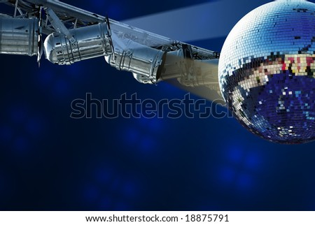 Shiny disco ball with light - stock photo