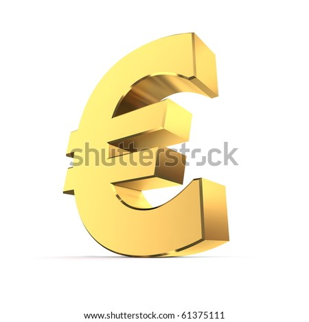 shiny euro symbol in a yellow golden look - stock photo