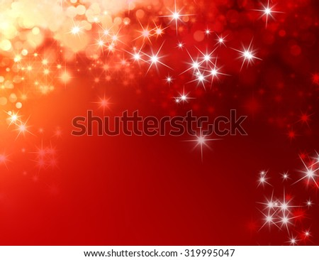 Shiny festive red background with star lights raining down - stock photo