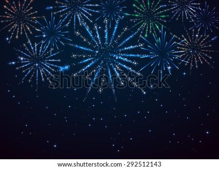 Shiny fireworks on dark blue background, illustration. - stock photo