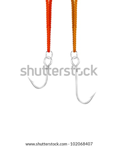Shiny fishing hook on white background. - stock photo