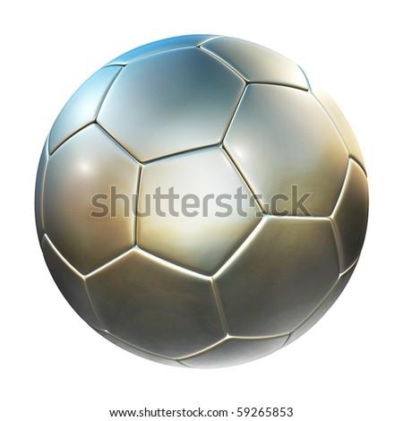shiny football (soccer ball) on the white background 3d illustration - stock photo